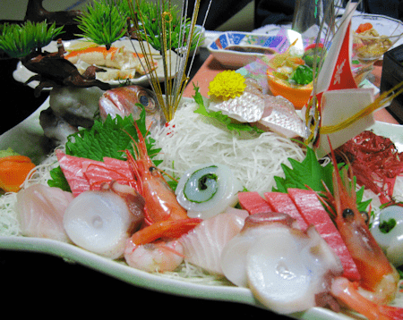 Sashimi and Kaiseki Cuisine in Ryokan, Japan